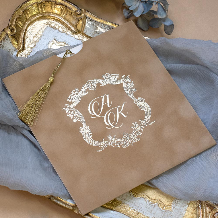 Brown & Gold Luxury Wedding invitations