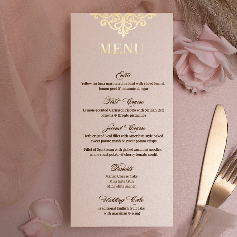 Rose Gold Menu Cards