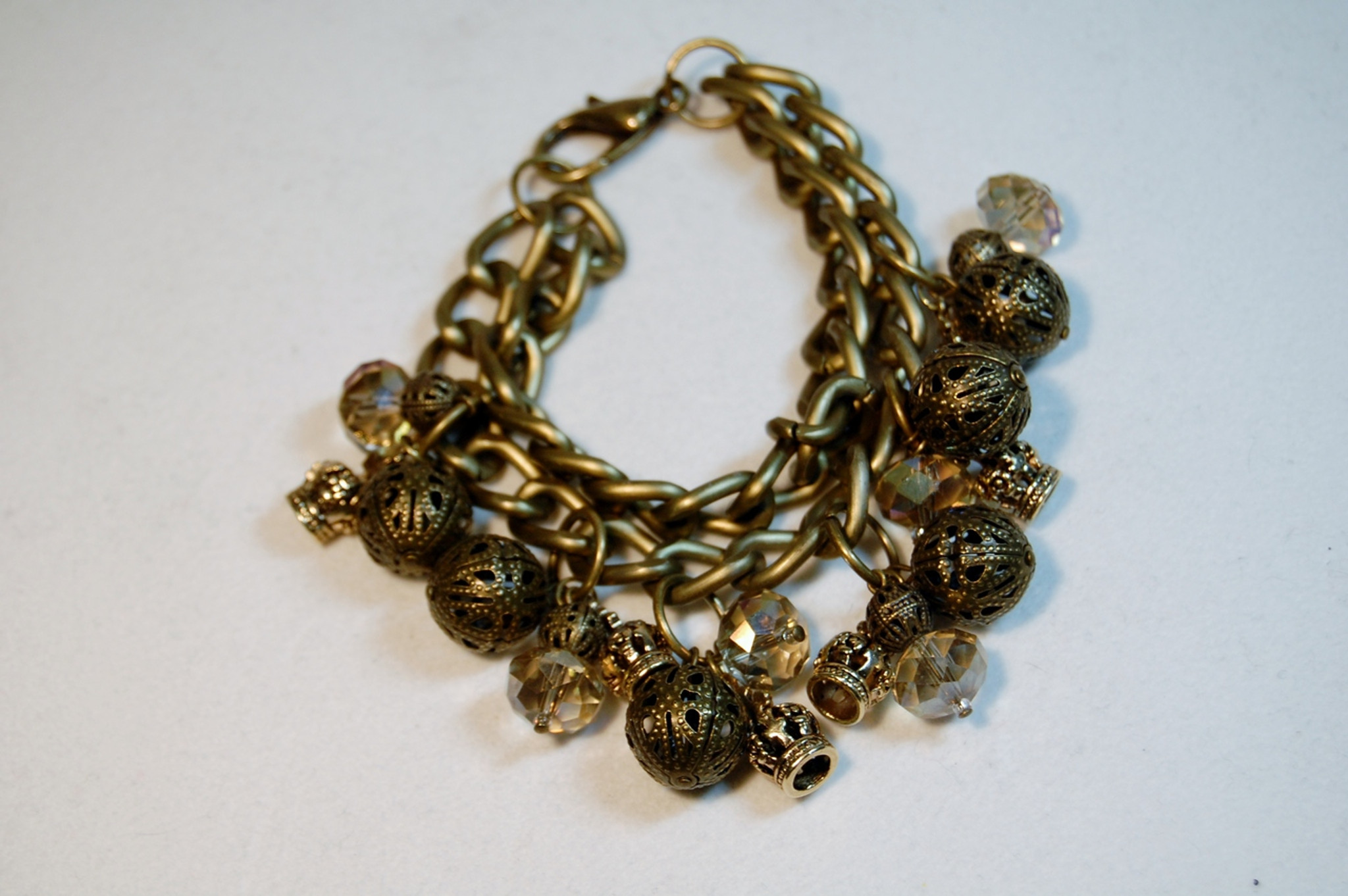 Antique Gold Bead and Crystals Chunky bracelet - Michele Maher Designs 6fb32358de