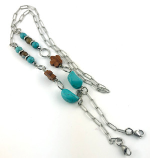Mask Chain with Turquoise, Wood and Agate