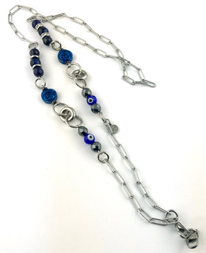 Mask Chain with Lapis Lazuli, Blue Tiger's Eye and Evil Eye