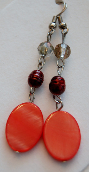 red oval shell drop earrings