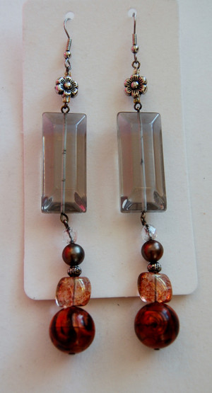 Smokey Crystal and Amber Bead Drop Earrings