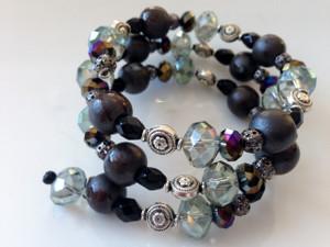 Crystal and dark wrap bracelet