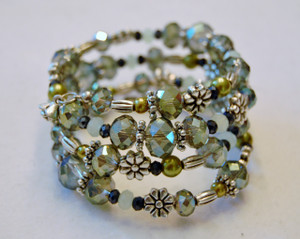 Shades of green crystal wrap bracelet