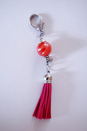 Pink Ball and Tassel Purse Clip