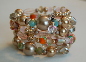 Gold tone pearls, Crystals and Glass Murano style beads Wrap Bracelet and matching earrings
