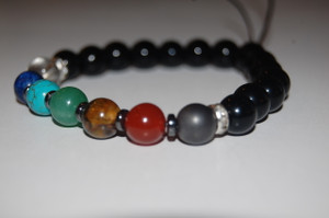 """""""Balance your 7 Chakras""""  Healing Bracelet with Obsidian Stones - Hematite Spacers"""