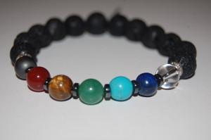 """Balance Your 7 Chakras"" Healing Bracelet with Lava Stone & Hematite Spacers"