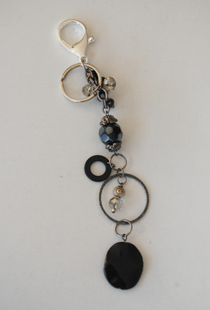 Black Stone and Crystals Keychain