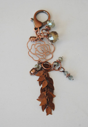 Copper Rose, Leaves and Crystals Keychain
