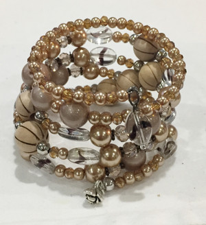 Beige Pearls and Glass Beads wrap bracelet