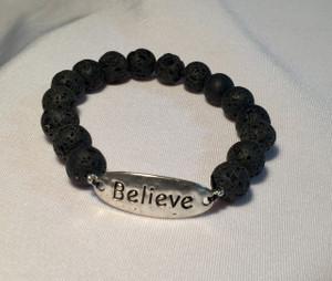 """""""Believe"""" Lava Rock Bracelet"""
