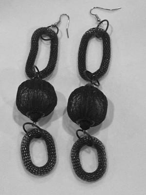 Black Mesh Ball and Loops Long Earrings