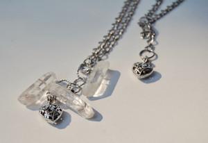 Clear Crystal Quartz & Heart Long Necklace