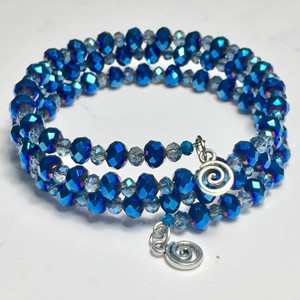 Stunning blue small crystals wrap bracelet