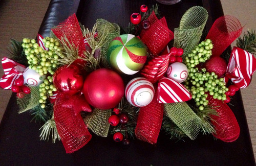 Custom order Christmas Centrepiece - Red and Green #1