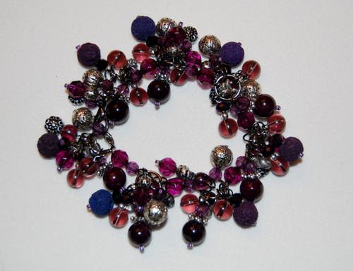 Purple bead cluster bracelet
