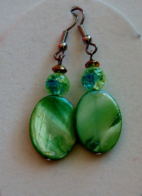 green disc drop earrings