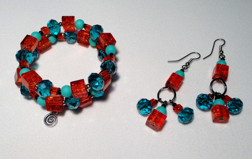 Fun with Jeans! Blue and Orange Wrap Bracelet and Earrings Set