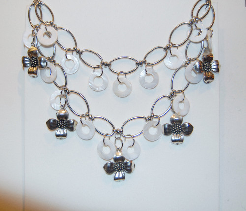 White bone circles and silver flower drops necklace