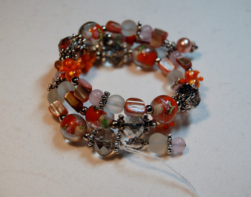 Orange flowers wrap bracelet