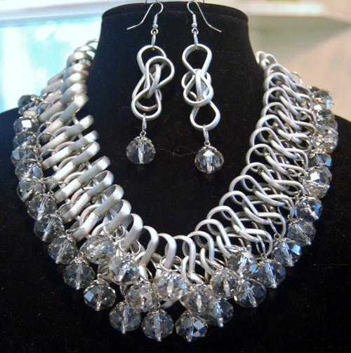 Power statement silver necklace set