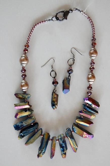 Rainbow Quartz necklace set