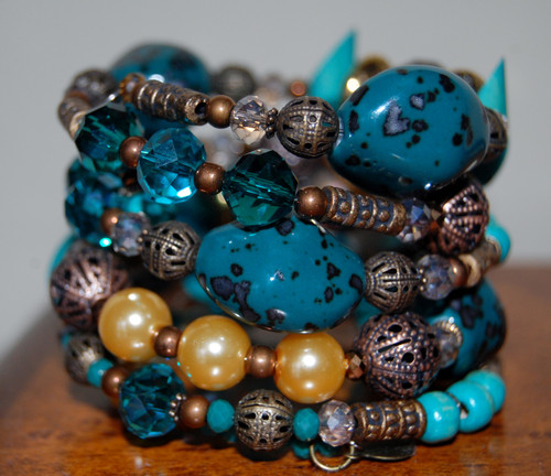 Turquoise and Crystals Wrap Bracelet