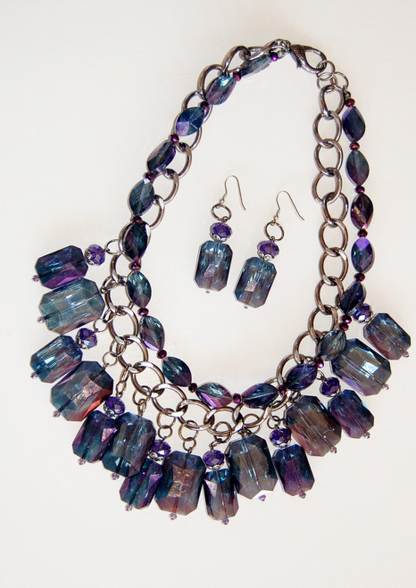 Two Strand Purple Crystal Cluster Necklace Set
