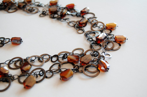 Gun Metal Circles Necklace Set with Amber Coloured Crystal Drops