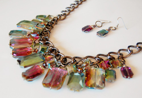 Carnival Glass Shaded Crystal Cluster necklace set