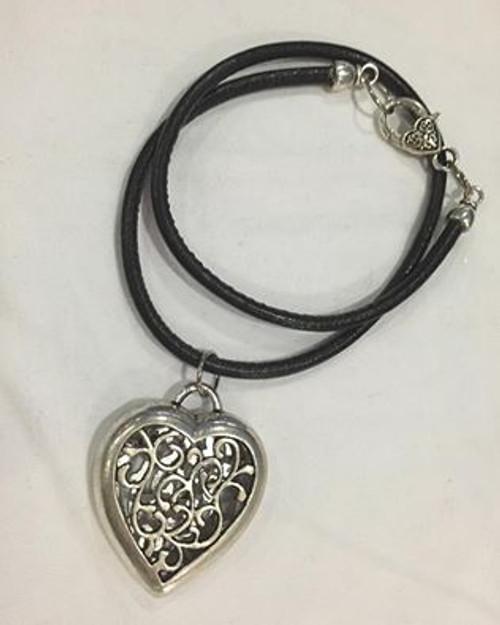 Filigree Heart Pendant on Leather Cord