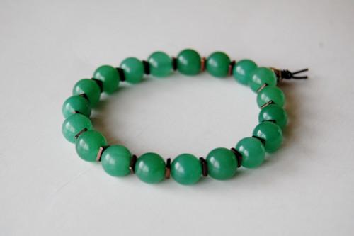 8mm Semi-Precious Green Adventurine Beaded Bracelet