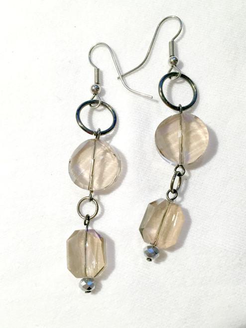 Light beige/gold crystal earrings
