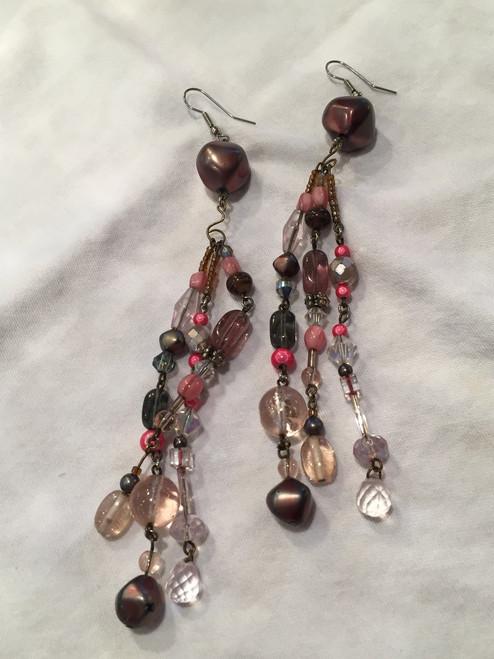 Extra Long Multi Colour Bead Drop Earrings