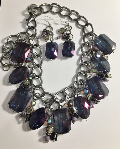 Purple Crystal Cluster with Light Purple Drops necklace set