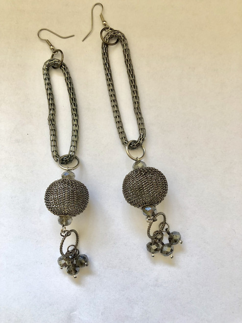 X-Long Gun Metal toned Earrings with Crystal Drops