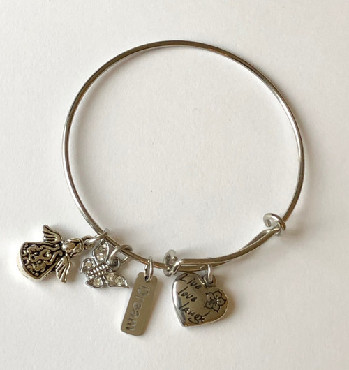 Angel, Butterfly, Dream, Live Love Laugh Stainless Steel Bangle