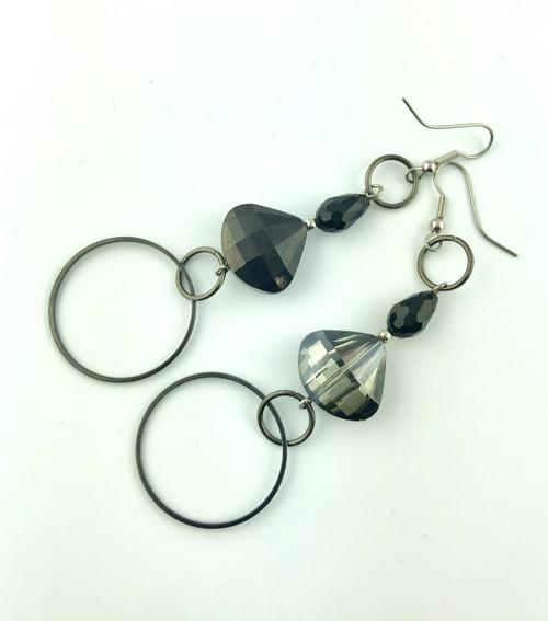 Dark Crystals drop earrings