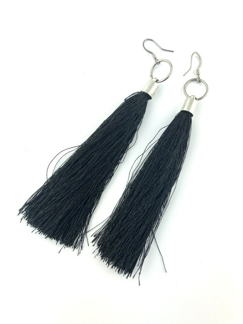 Long Black tassel earrings