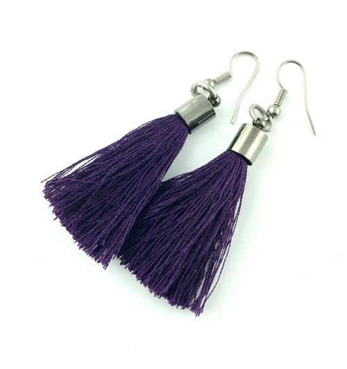 Purple Tassel earrings