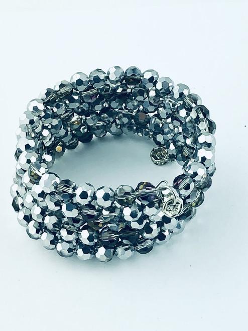 Tiny Silver Crystals wrap bracelet