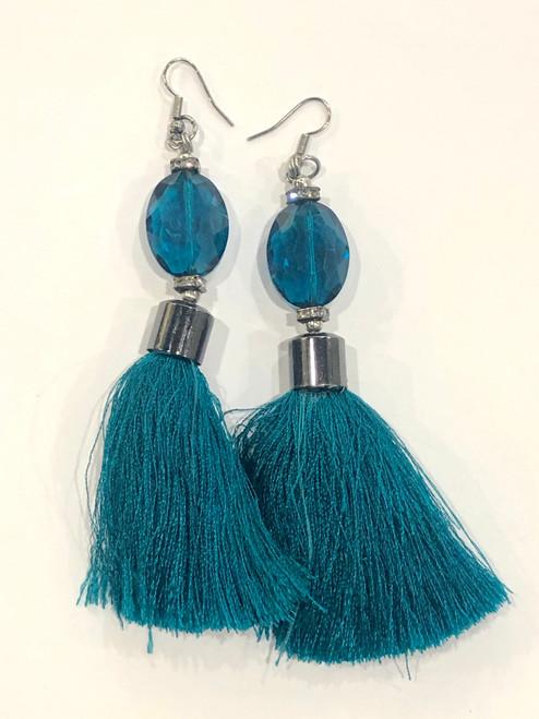 Teal Blue Crystal and Tassel Drop Earrings