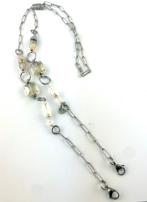 Mask Chain with Pearl, Botswana Agate and Crystal