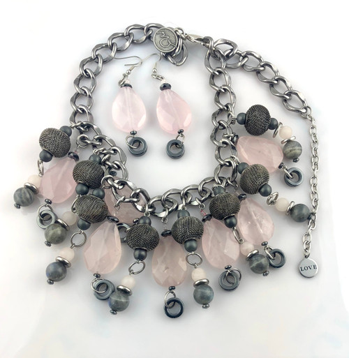 Steel and Roses Necklace set