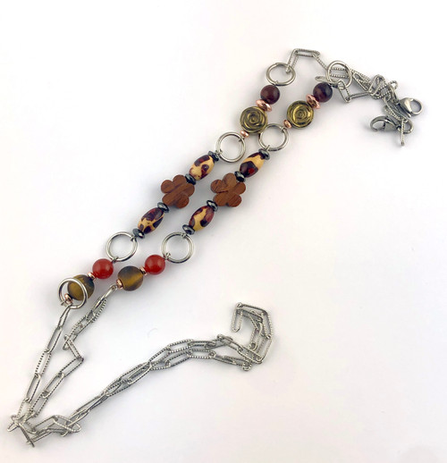 Tiger Eye, Carnelian, Red Tiger Eye, Hematite and Wood mask chain