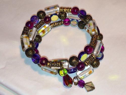 Purple, green and gold wrap bracelet