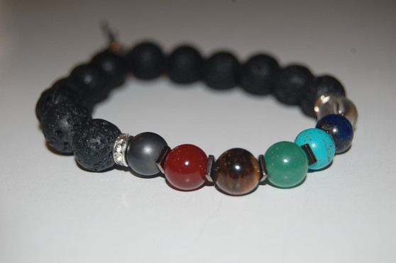 """""""Balance Your 7 Chakras"""" Healing Bracelet with Lava Stone & Copper Spacers"""