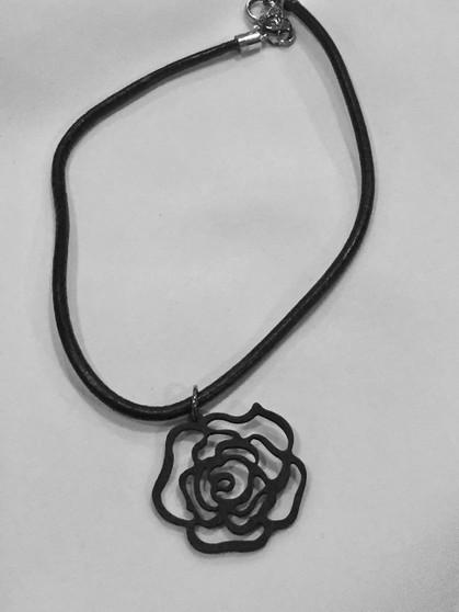 Black Wooden Flower Pendant necklace